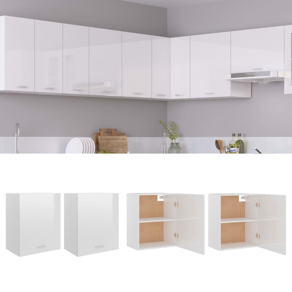 vidaXL køkkenskabe 2 stk. 50x31x60 cm spånplade hvid højglans