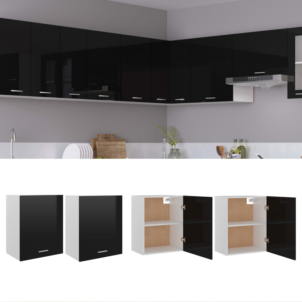 vidaXL køkkenskabe 2 stk. 50x31x60 cm spånplade sort højglans