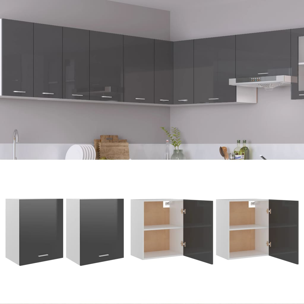 vidaXL køkkenskabe 2 stk. 50x31x60 cm spånplade grå højglans