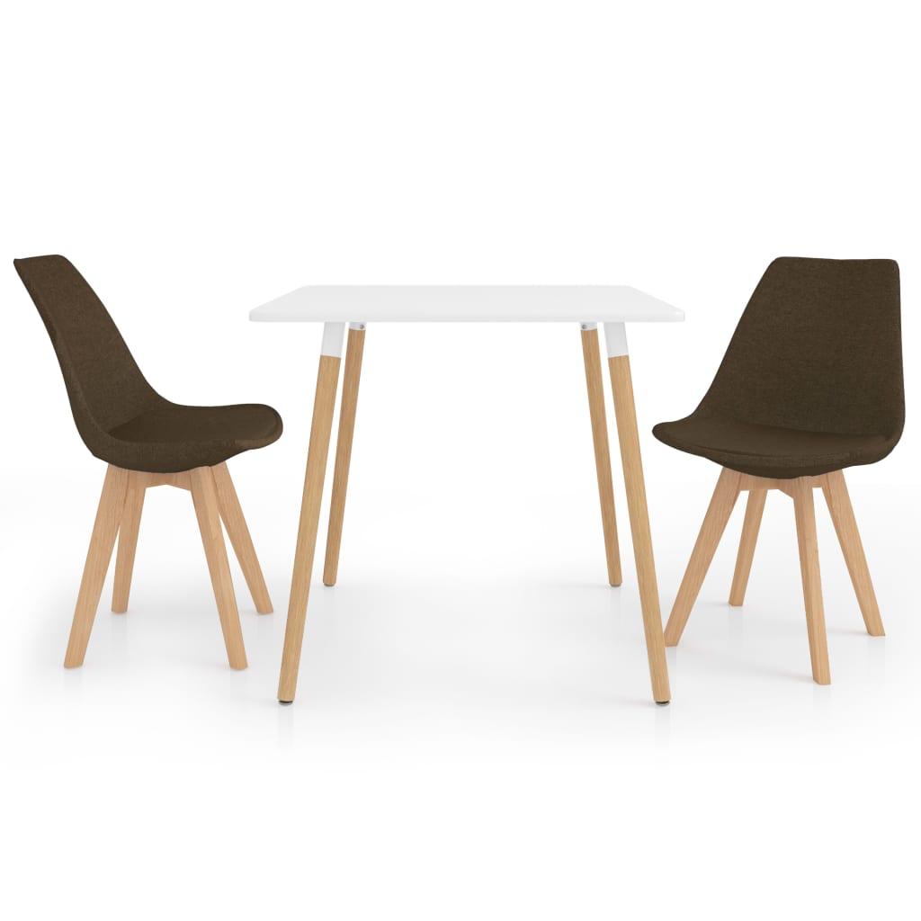 vidaXL spisebordssæt 3 dele brun