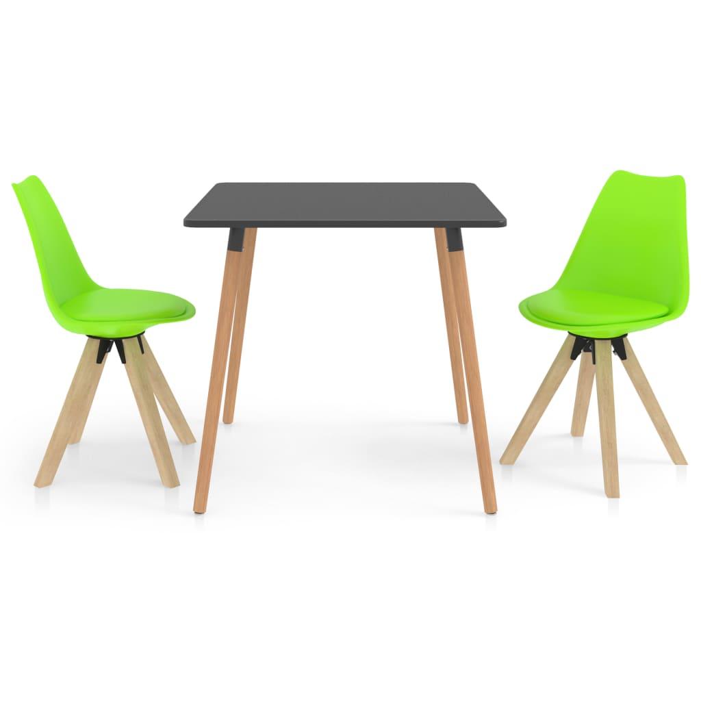 vidaXL spisebordssæt 3 dele grøn