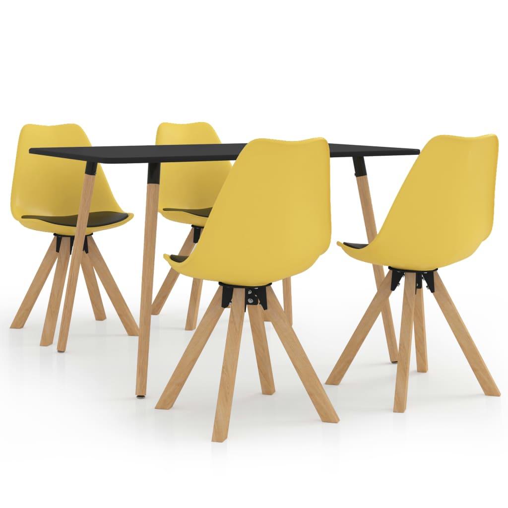 vidaXL Set mobilier de bucătărie, 5 piese, galben și negru imagine vidaxl.ro