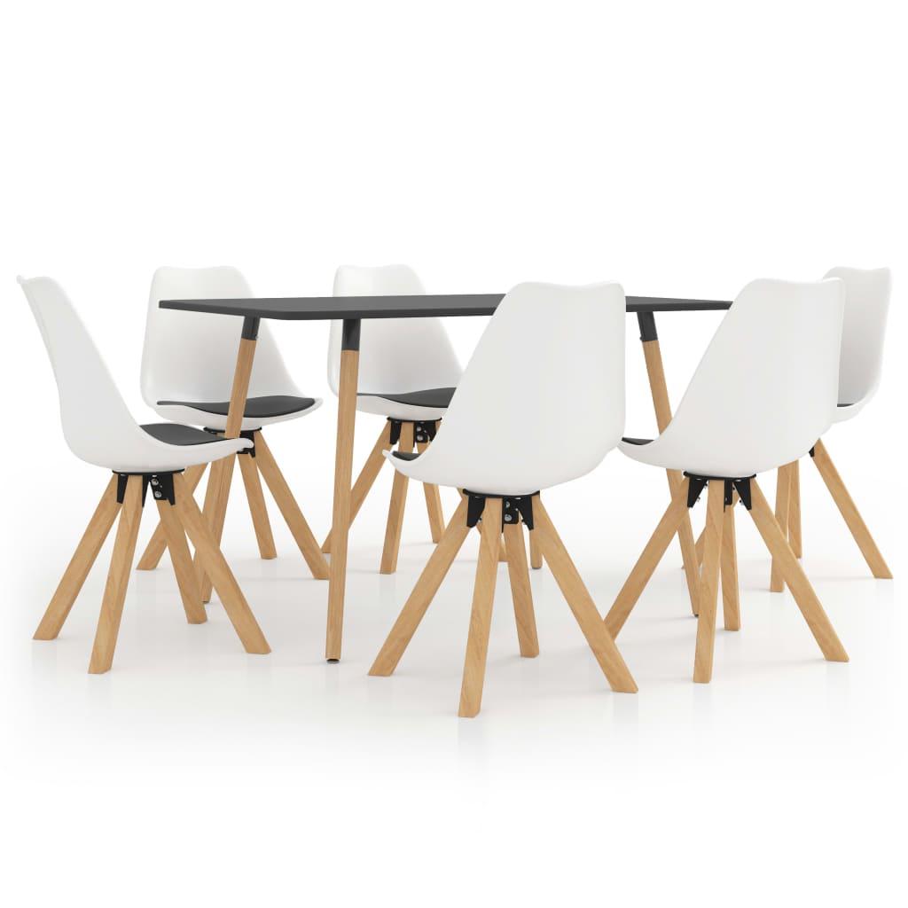 vidaXL spisebordssæt 7 dele hvid og sort
