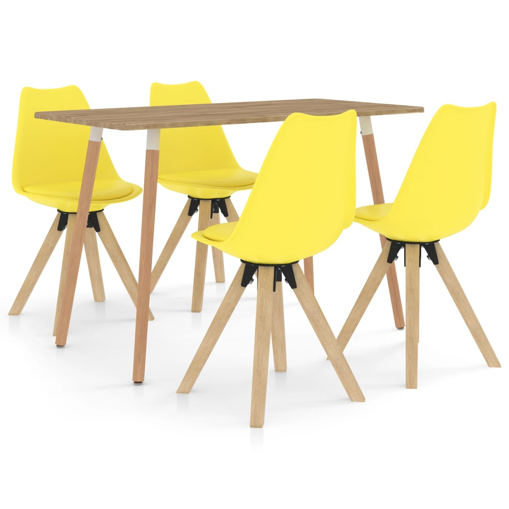 vidaXL Set mobilier de bucătărie, 5 piese, galben imagine vidaxl.ro