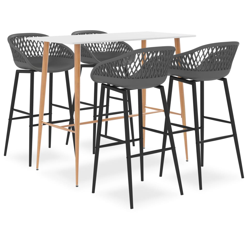 vidaXL Set mobilier de bar, 5 piese, alb și gri poza vidaxl.ro
