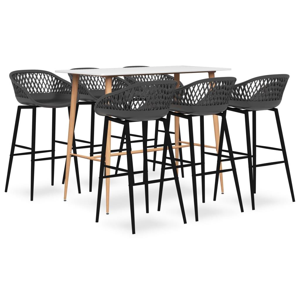 vidaXL Set mobilier de bar, 7 piese, alb și gri vidaxl.ro