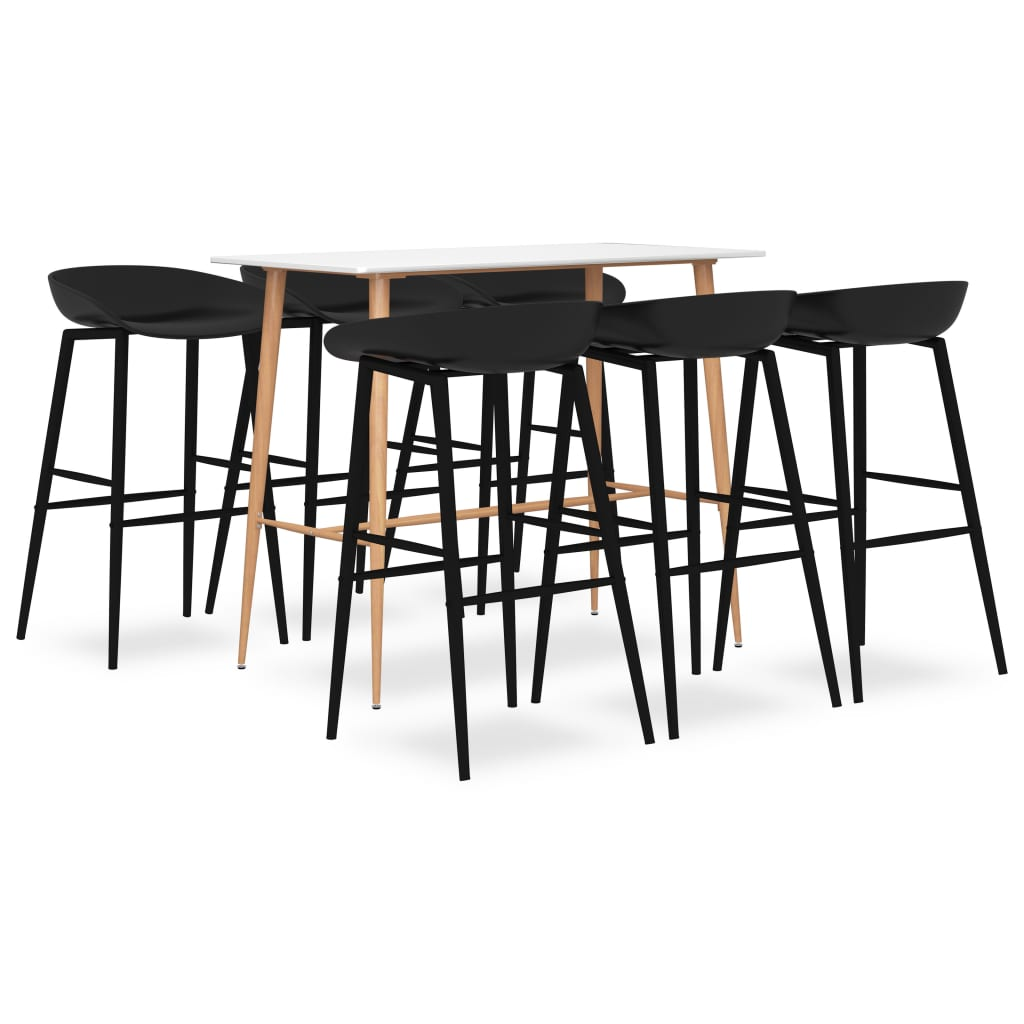 vidaXL Set mobilier de bar, 7 piese, alb și negru imagine vidaxl.ro