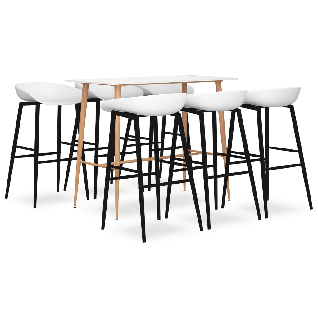 vidaXL Set mobilier de bar, 7 piese, alb vidaxl.ro