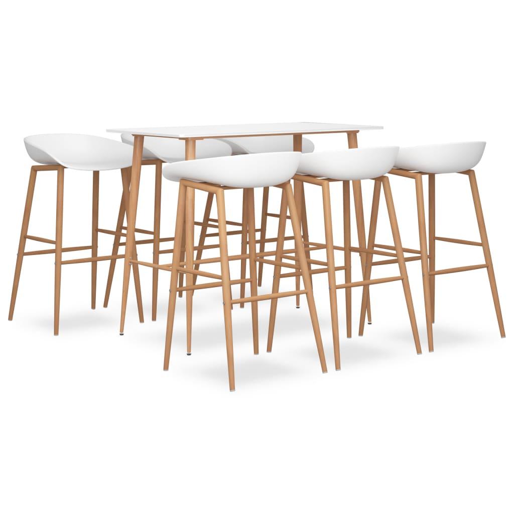 vidaXL Set mobilier de bar, 7 piese, alb imagine vidaxl.ro