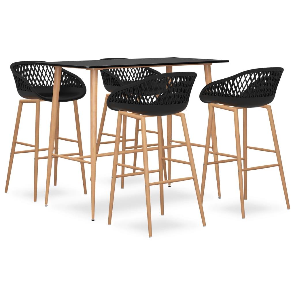 vidaXL Set mobilier de bar, 5 piese, negru vidaxl.ro