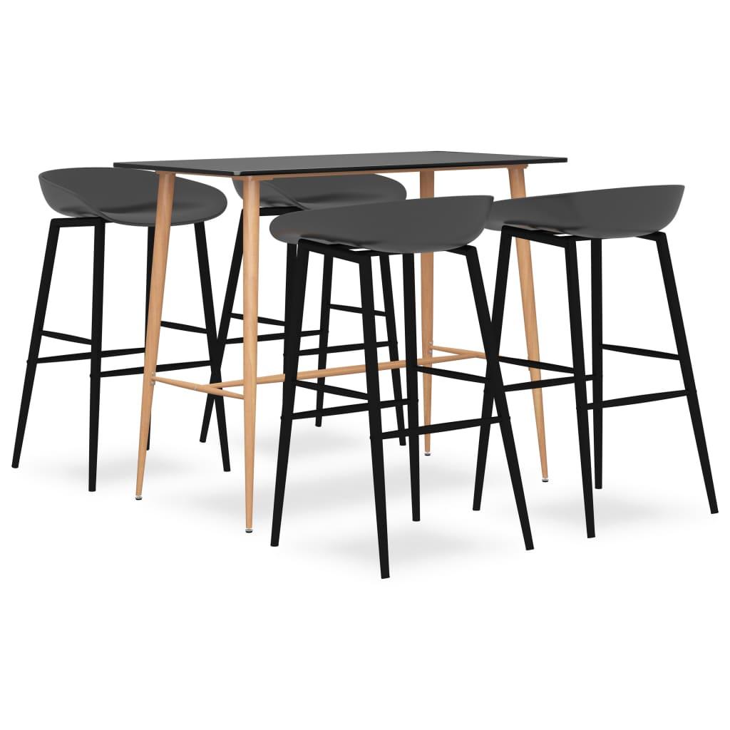 vidaXL Set mobilier de bar, 5 piese, negru și gri vidaxl.ro