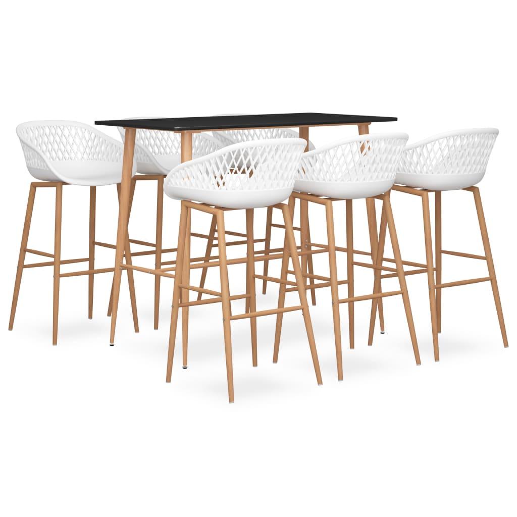 vidaXL Set mobilier de bar, 7 piese, negru și alb poza 2021 vidaXL
