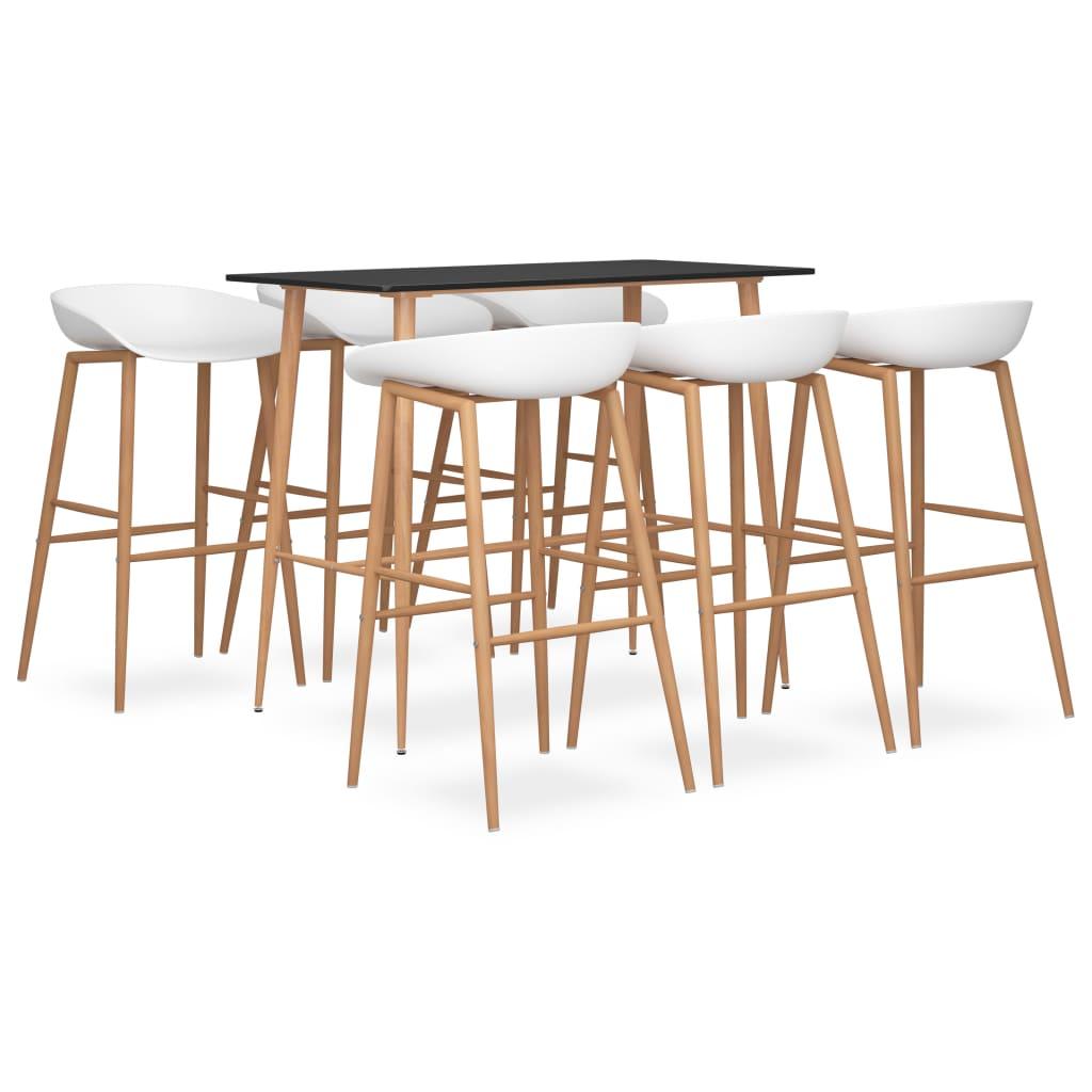 vidaXL Set mobilier de bar, 7 piese, negru și alb vidaxl.ro