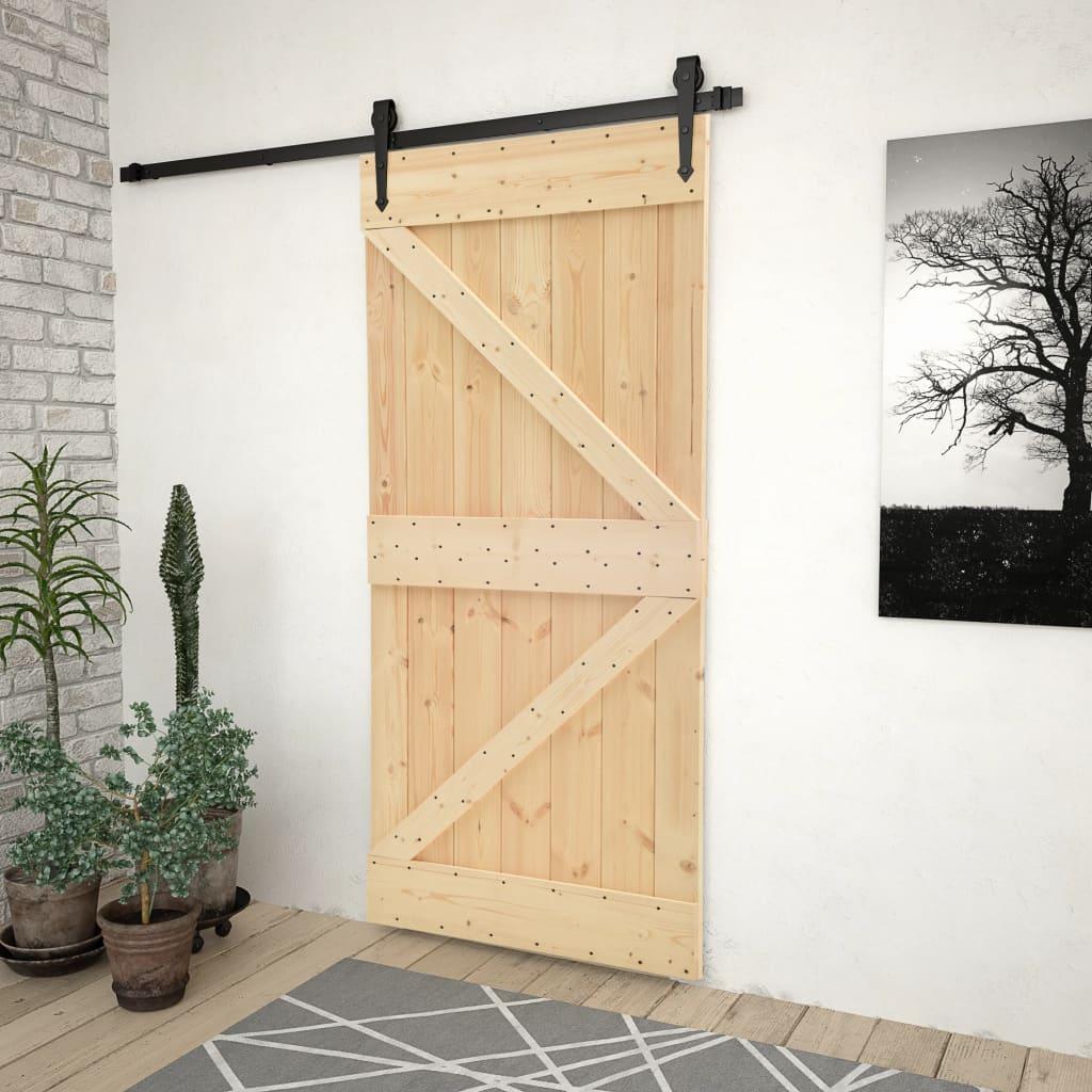 vidaXL Ușă glisantă cu set feronerie, 80 x 210 cm, lemn masiv de pin imagine vidaxl.ro