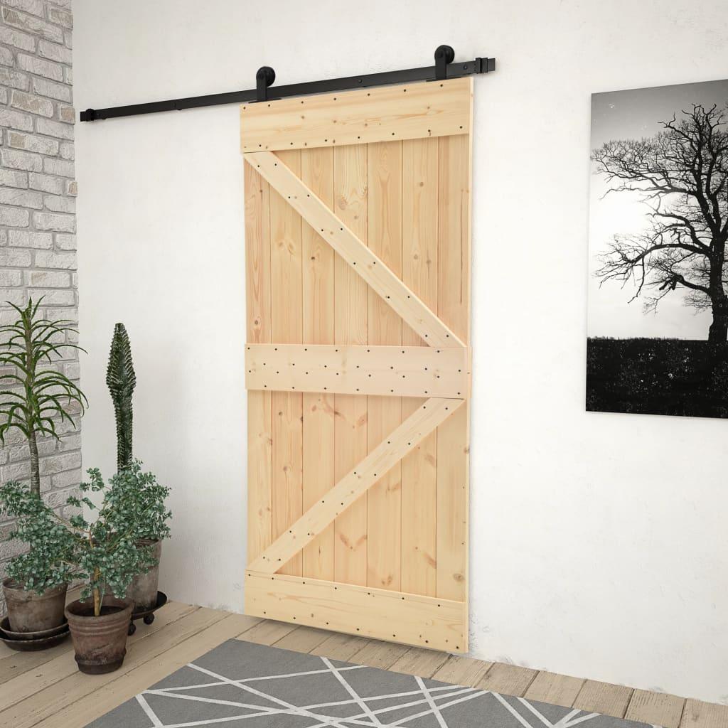 vidaXL Ușă glisantă cu set feronerie, 80 x 210 cm, lemn masiv de pin poza vidaxl.ro