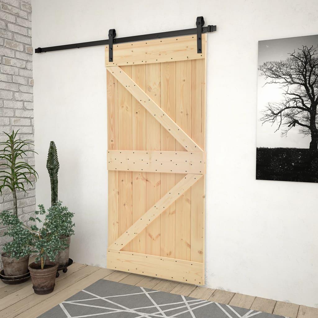 vidaXL Ușă glisantă cu set feronerie, 80x210 cm, lemn masiv de pin imagine vidaxl.ro