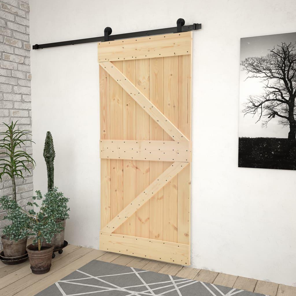vidaXL Ușă glisantă cu set feronerie, 90 x 210 cm, lemn masiv de pin imagine vidaxl.ro