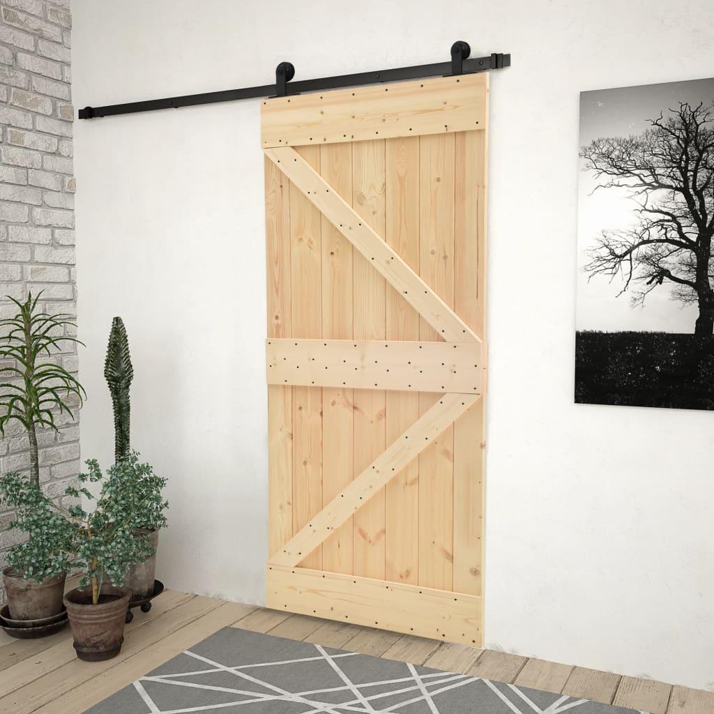 vidaXL Ușă glisantă cu set feronerie 100x210 cm, lemn masiv de pin poza vidaxl.ro