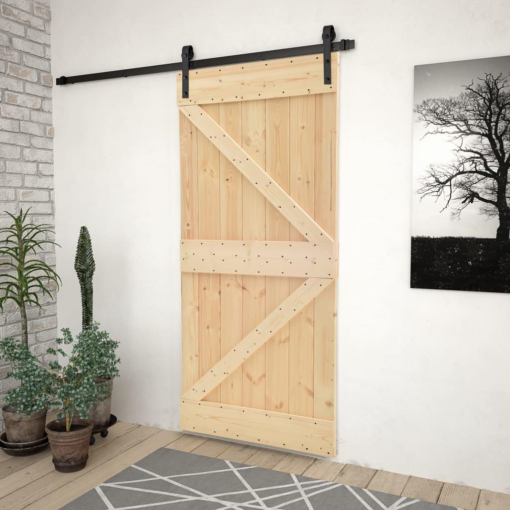 vidaXL Ușă glisantă cu set feronerie, 100 x 210 cm, lemn masiv de pin imagine vidaxl.ro