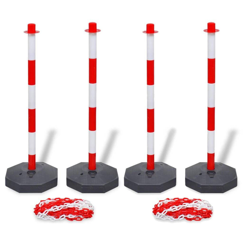 vidaXL Set 4 stâlpi de blocare & 2 lanțuri de plastic, 10 m poza 2021 vidaXL