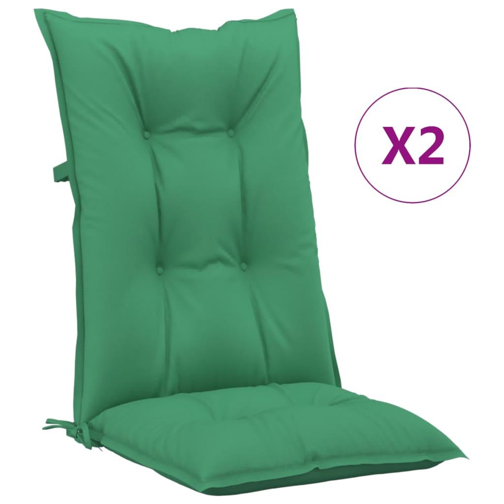 vidaXL Tuinstoelkussens 2 st 120x50x7 cm groen