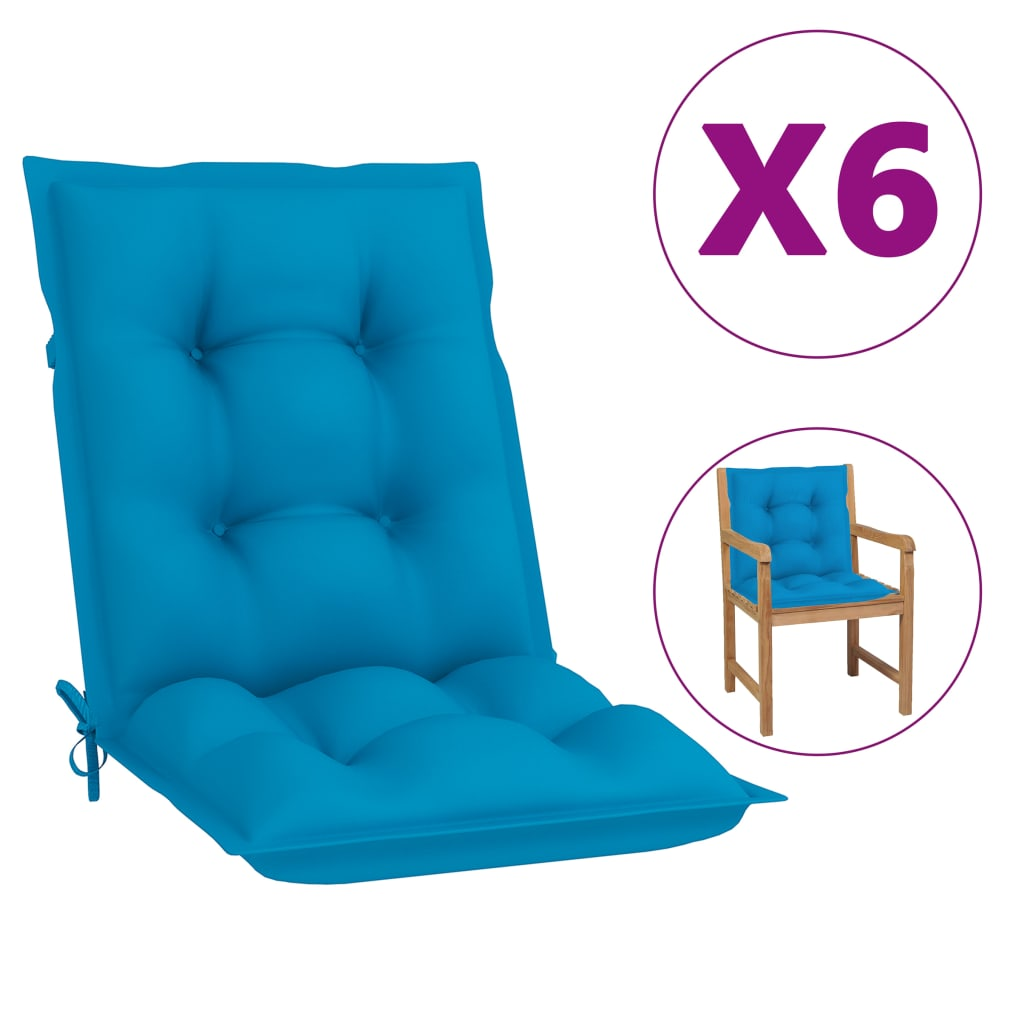 vidaXL Tuinstoelkussens 6 st 100x50x7 cm blauw