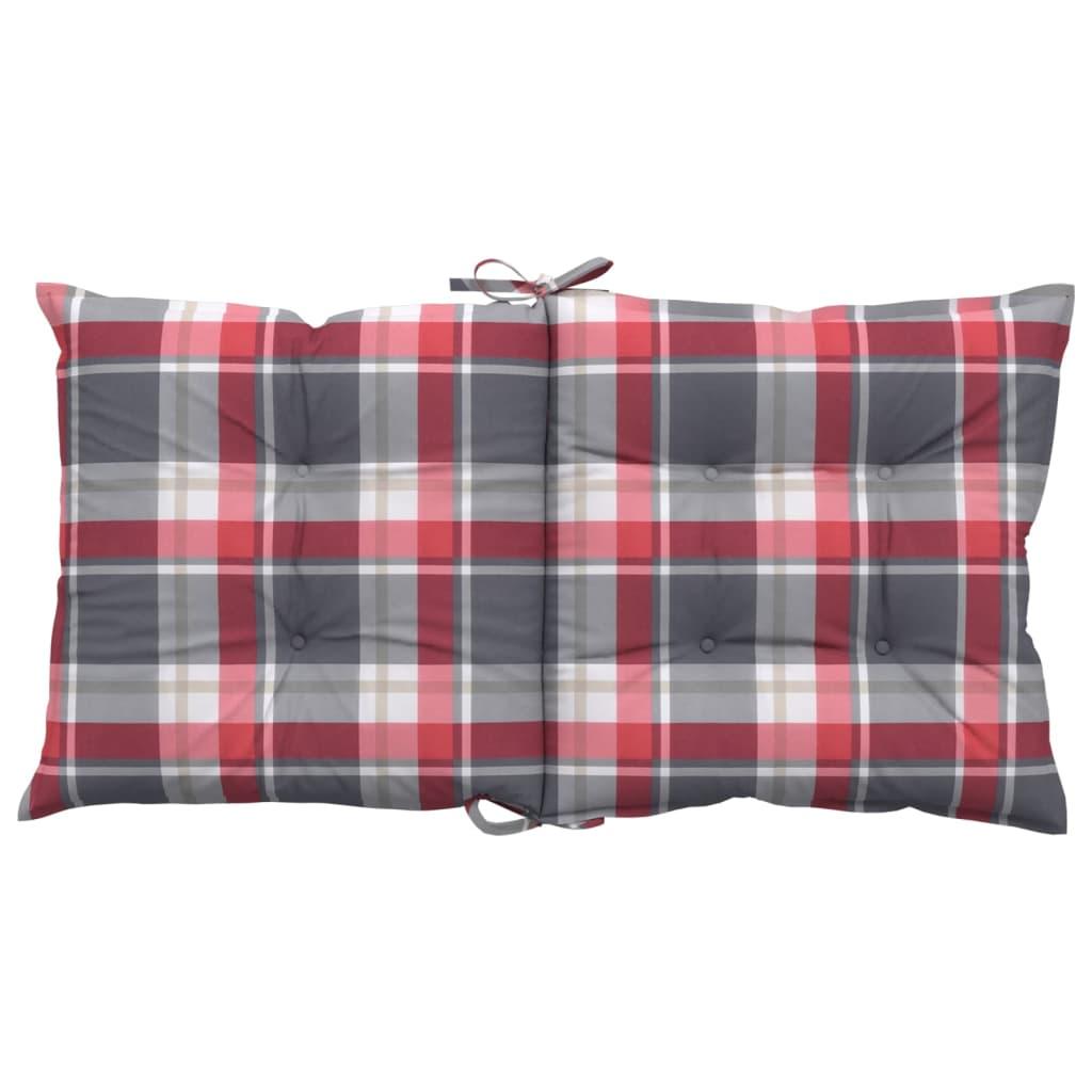 vidaXL Tuinstoelkussens 6 st 100x50x7 cm rood ruitpatroon