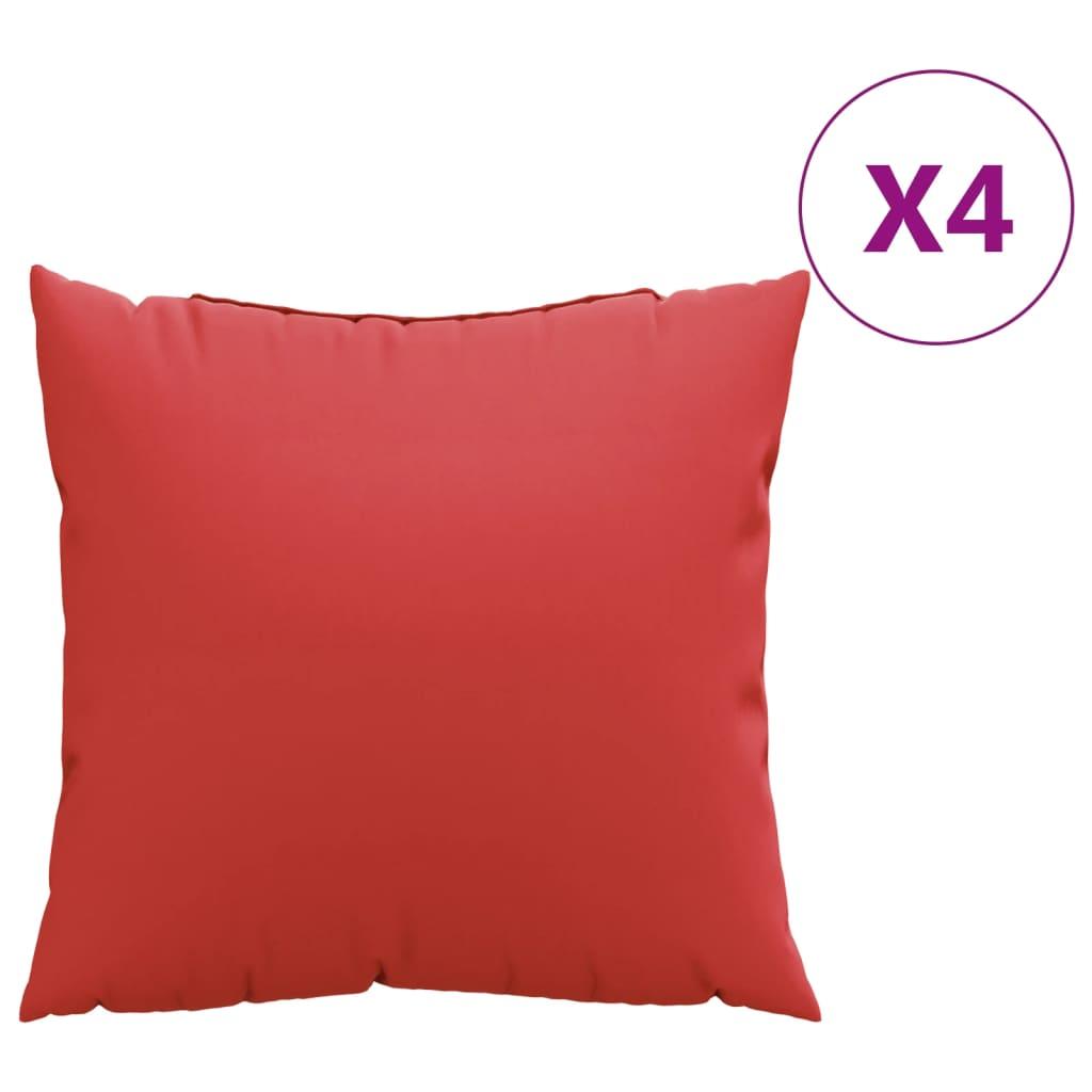 vidaXL Perne decorative, 4 buc., roșu, 40 x 40 cm, material textil poza vidaxl.ro