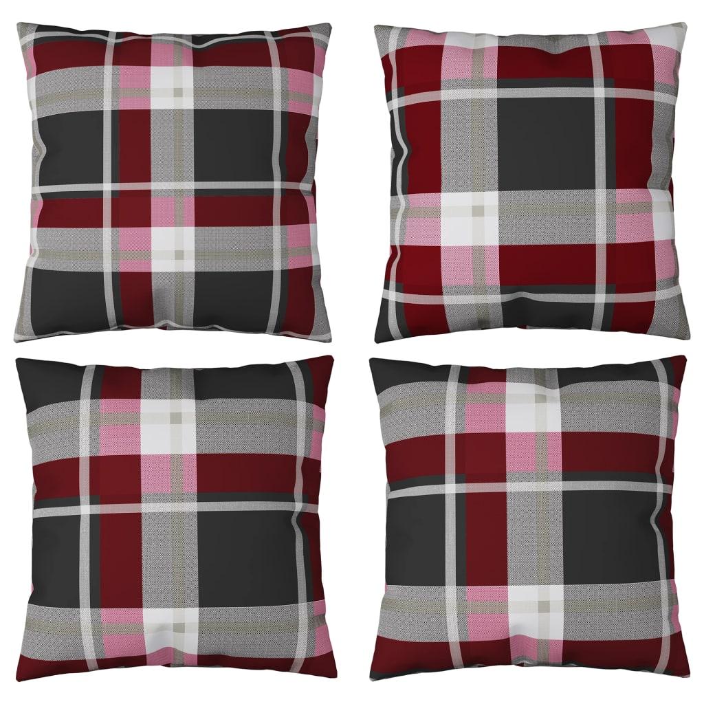 vidaXL Perne decorative 4 buc., roșu carouri 60x60 cm, material textil poza 2021 vidaXL
