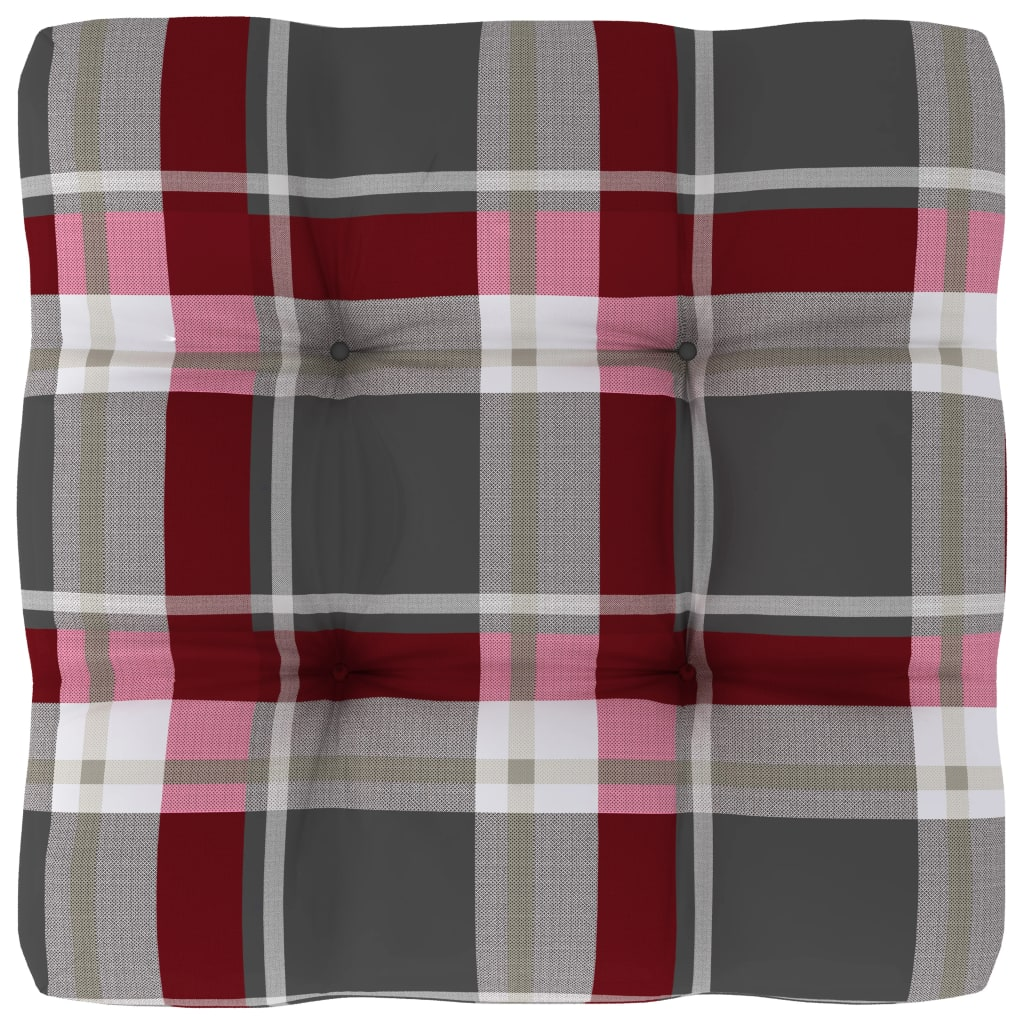 Poduška na pohovku z palet červená károvaná 50 x 50 x 12 cm