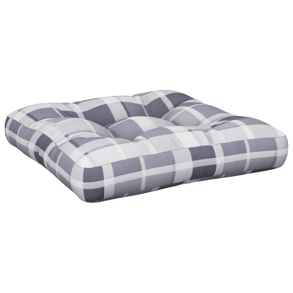 Poduška na pohovku z palet šedá károvaná 50 x 50 x 12 cm