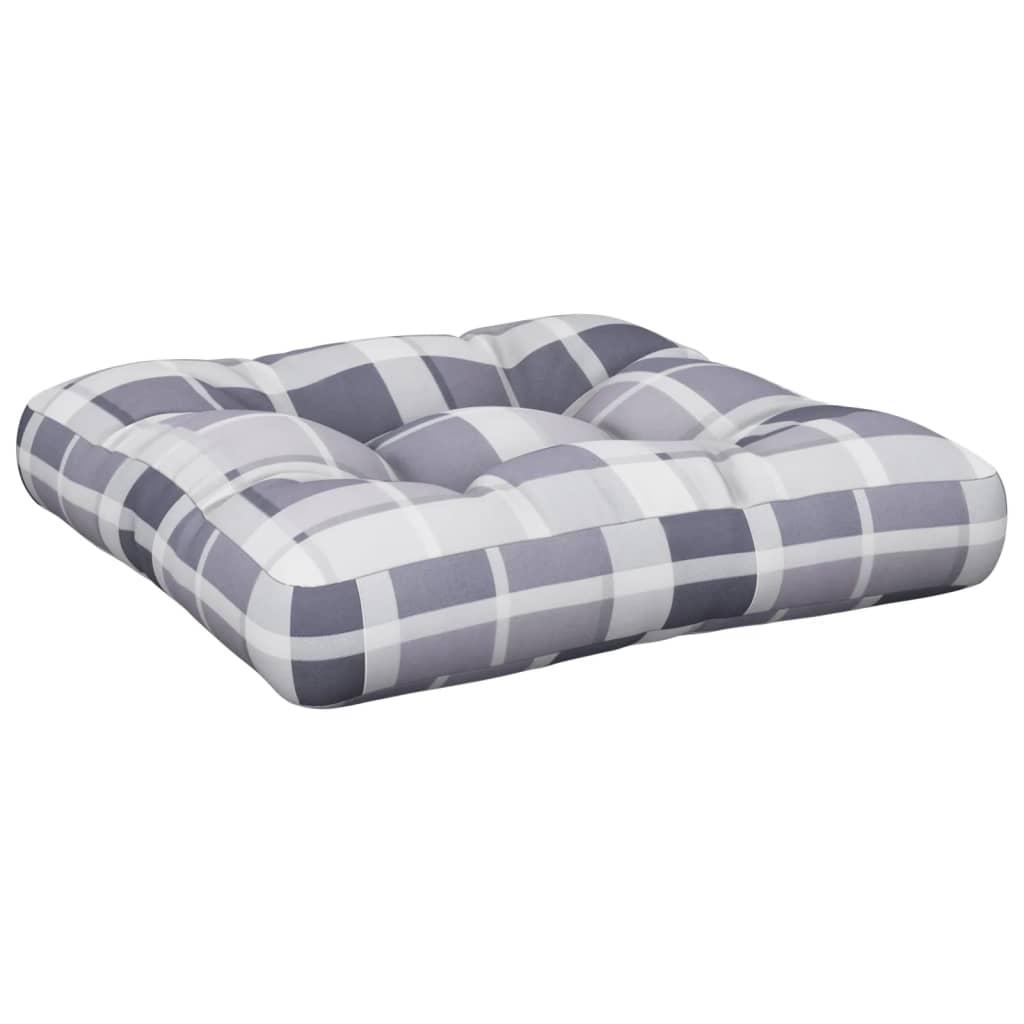Poduška na pohovku z palet šedá károvaná 60 x 60 x 12 cm