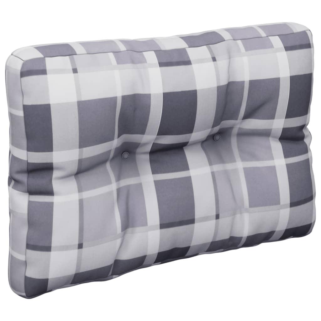 Poduška na pohovku z palet šedá károvaná 50 x 40 x 12 cm