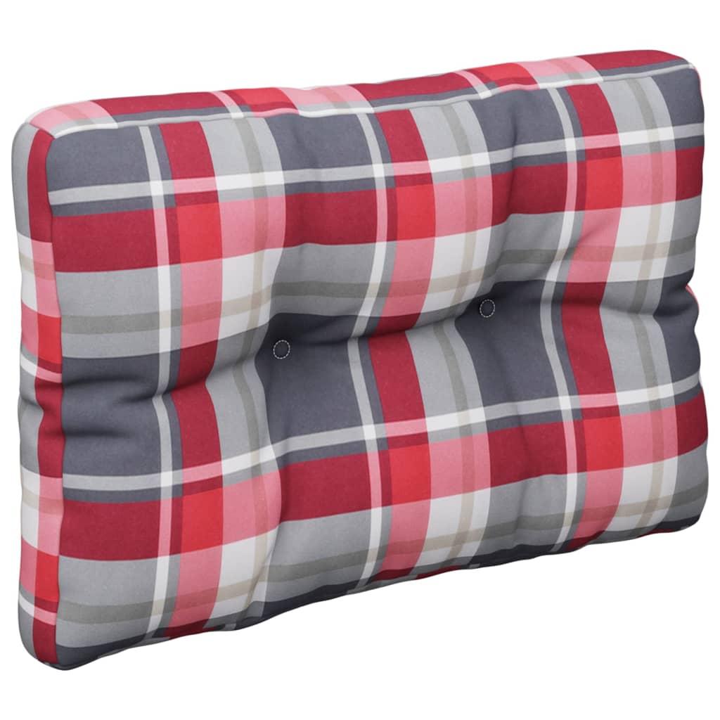 Poduška na pohovku z palet červená károvaná 60 x 40 x 12 cm