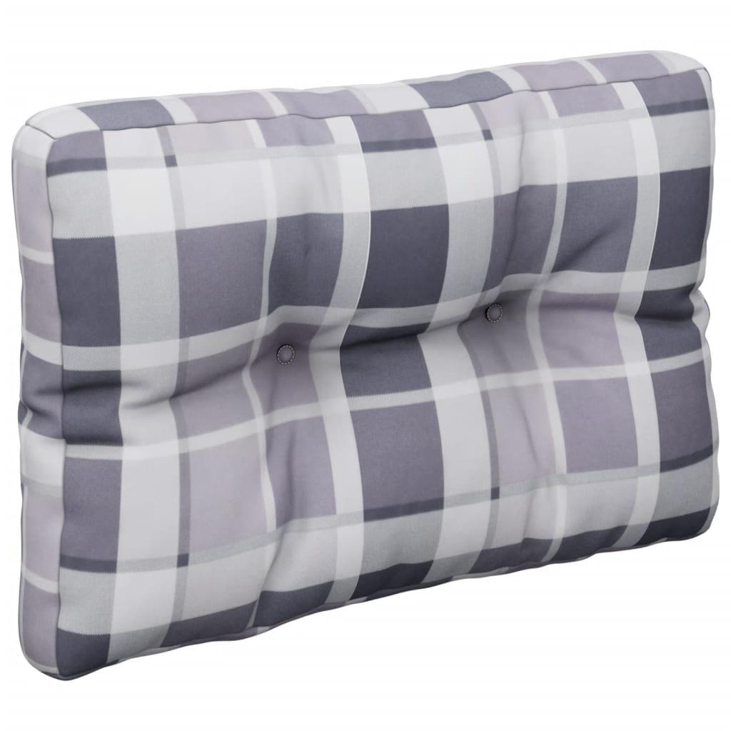 Poduška na pohovku z palet šedá károvaná 60 x 40 x 12 cm