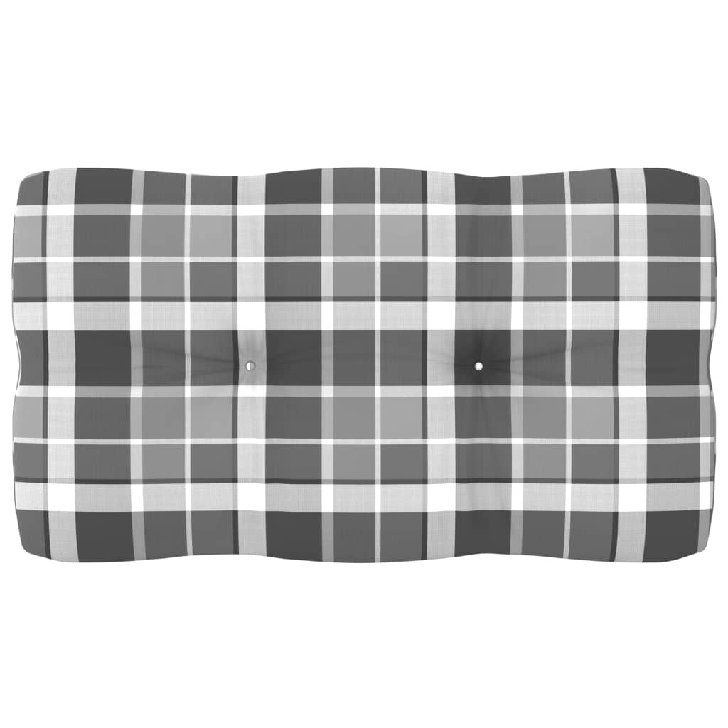 Poduška na pohovku z palet šedá károvaná 70 x 40 x 12 cm