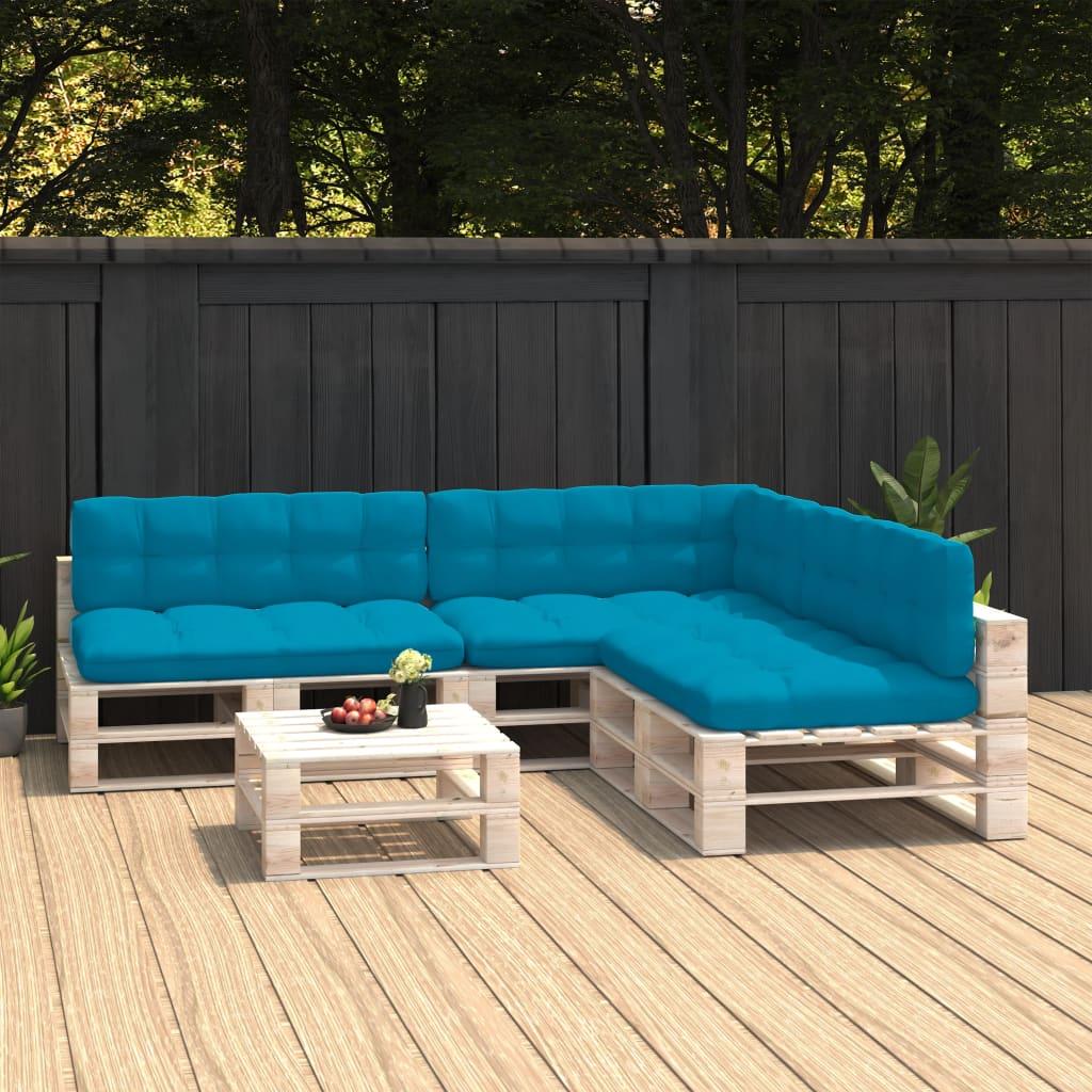 vidaXL Perne canapea din paleți 7 buc. albastru