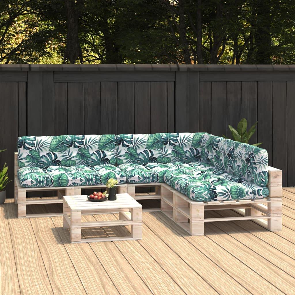 vidaXL Perne de canapea din paleți, 7 buc., model frunze imagine vidaxl.ro