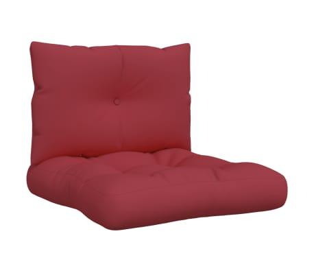vidaXL Coussins de canapé palette 2 pcs Rouge bordeaux Tissu