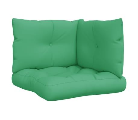 vidaXL Coussins de canapé palette 3 pcs Vert Tissu