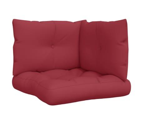 vidaXL Coussins de canapé palette 3 pcs Rouge bordeaux Tissu