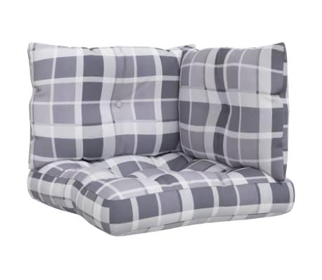 vidaXL Coussins de canapé palette 3 pcs Motif à carreaux gris Tissu