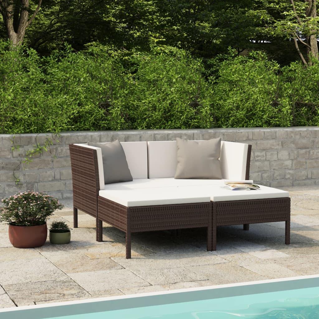 vidaXL Set mobilier de grădină cu perne, 4 piese, maro, poliratan vidaxl.ro