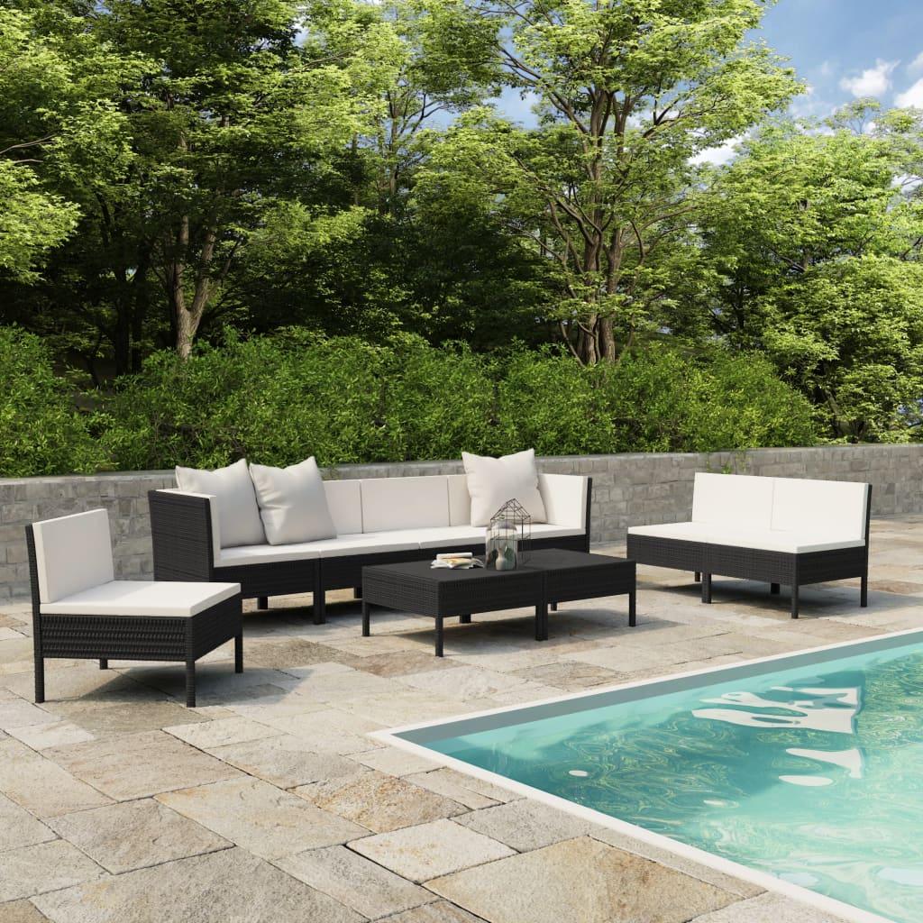 vidaXL Set mobilier de grădină cu perne, 9 piese, negru, poliratan vidaxl.ro