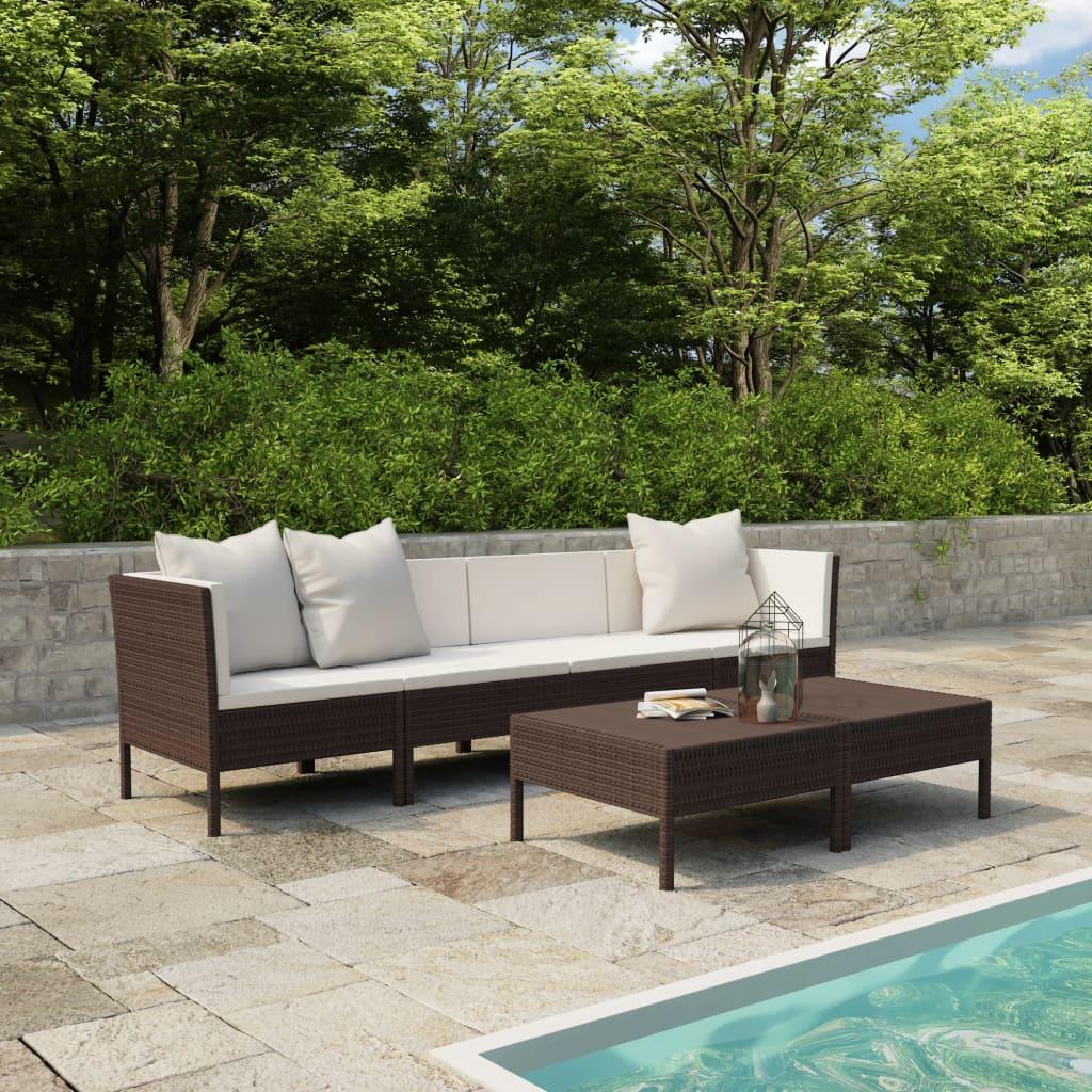 vidaXL Set mobilier de grădină cu perne, 6 piese, maro, poliratan vidaxl.ro