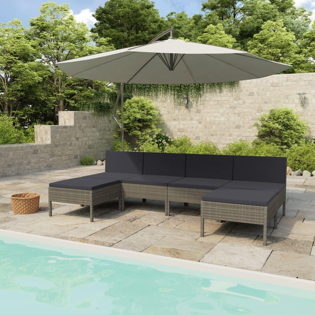vidaXL Set mobilier de grădină cu perne, 6 piese, gri, poliratan vidaxl.ro