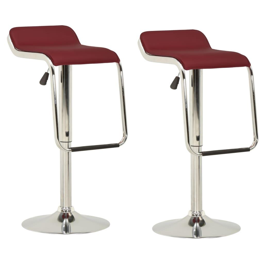 vidaXL barstole 2 stk. stof og bøjet træ vinrød