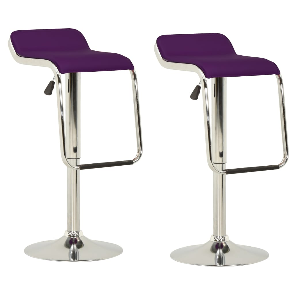 vidaXL barstole 2 stk. stof og bøjet træ lilla