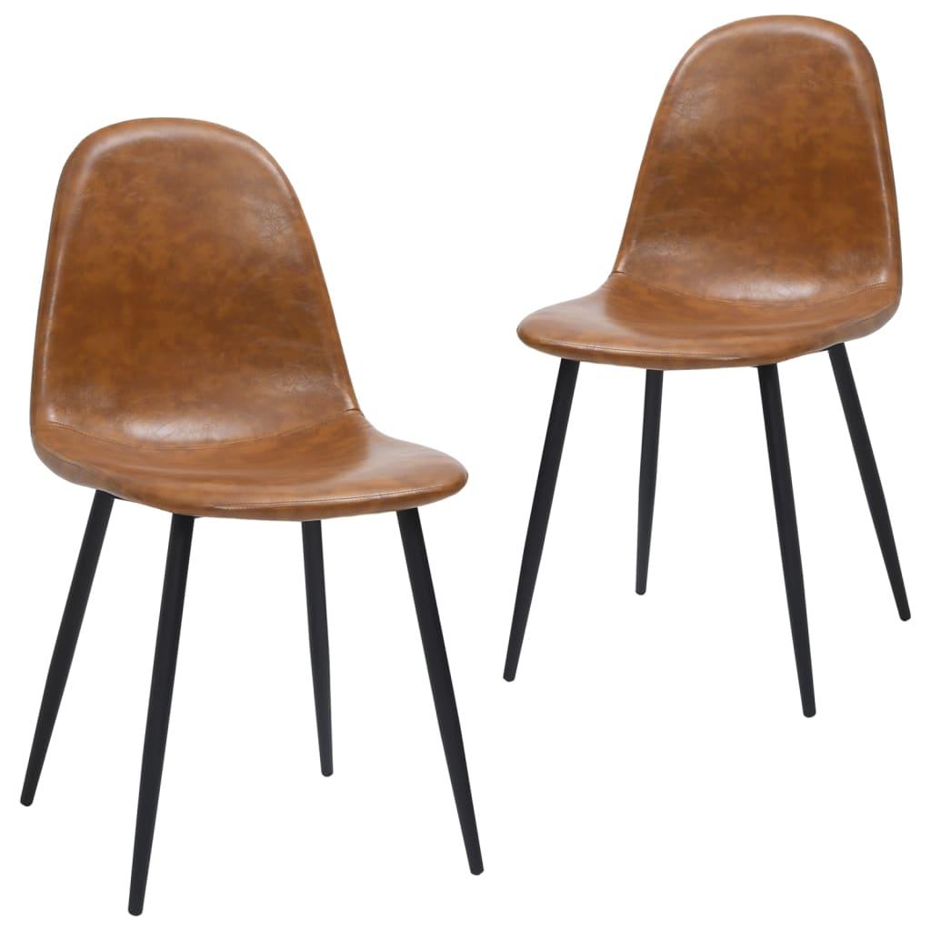 vidaXL Blagovaonske stolice 2 kom 45 x 54,5 x 87 cm smeđe umjetna koža