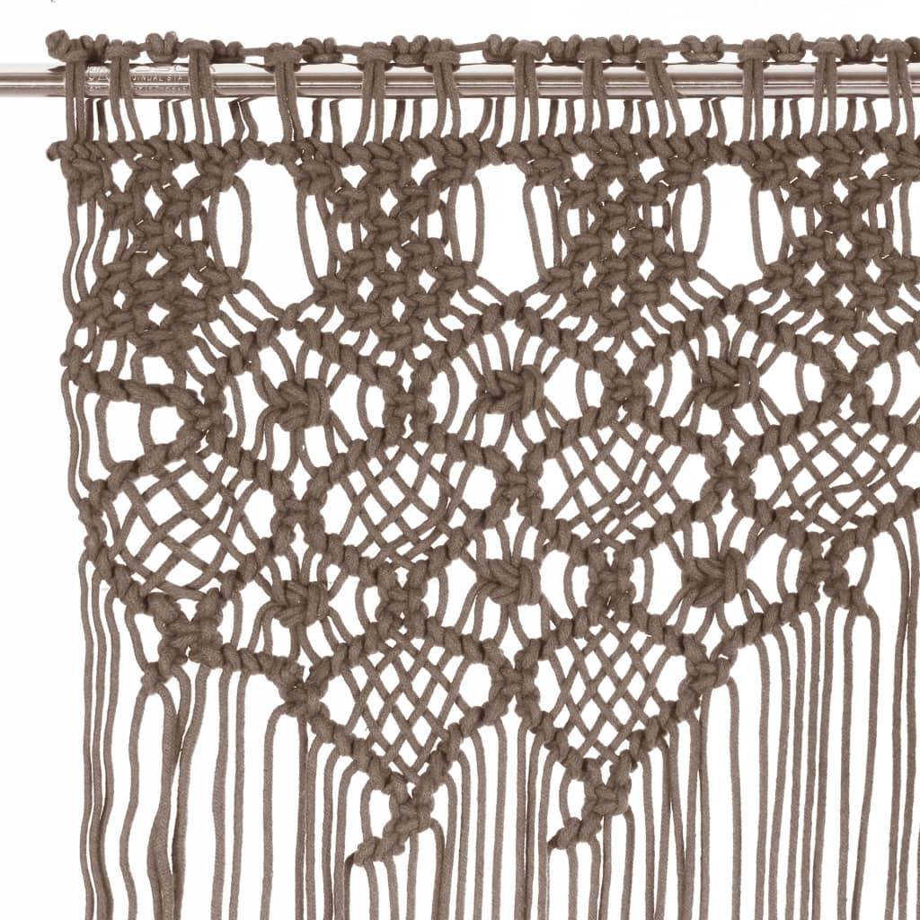 vidaXL Gordijn macramé 140x240 cm katoen taupe